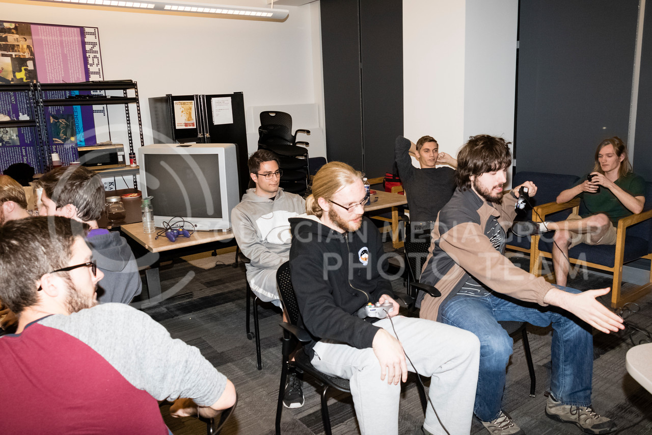 Students play Smash Bro's Melee at a Local Area Network (LAN) party on Dec 1, 2017. The Association for Computing Machinery (ACM) and Sponsor Suftek put on a LAN Party at the College of Engineering on Dec 1, 2017. (Alex Shaw | Collegian Media Group)
