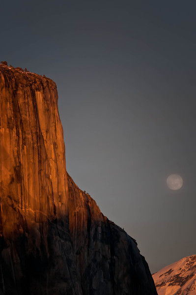 El Capitan in Yosemite Valley with the moon done right.