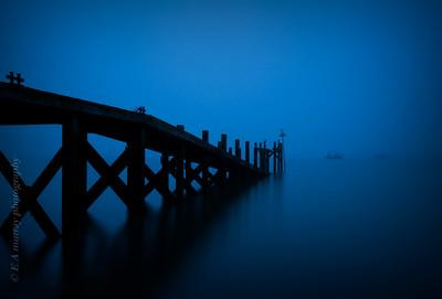 Southend boardwalk in the mist