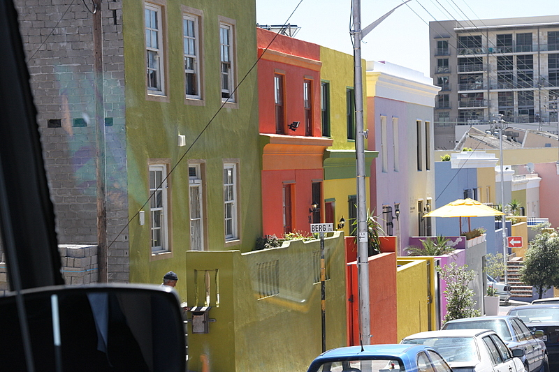 Bo-Kaap chic neighborhood in Capetown, South Africa<br /> Houses painted in crayon colors