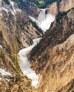 Lower Yellowstone Falls and the Yellowstone River, Yellowstone National Park.