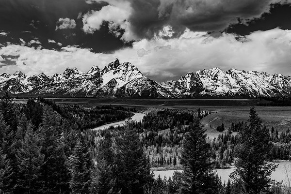 Black & White version - the Tetons on a cloudy morning, viewed from the Snake River Overlook