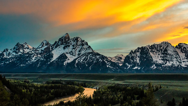 The Tetons at sunset, viewed from the Snake River Overlook