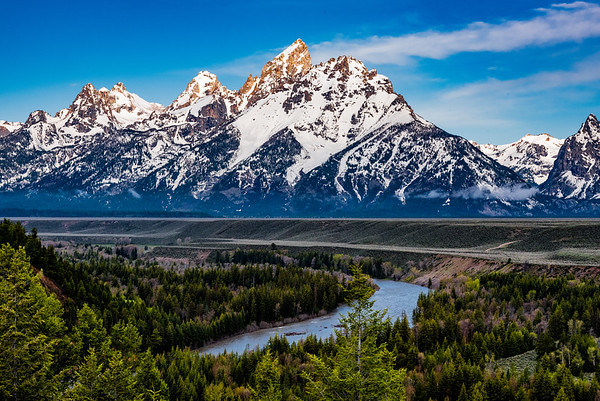 The Tetons at sunrise, viewed from the Snake River Overlook