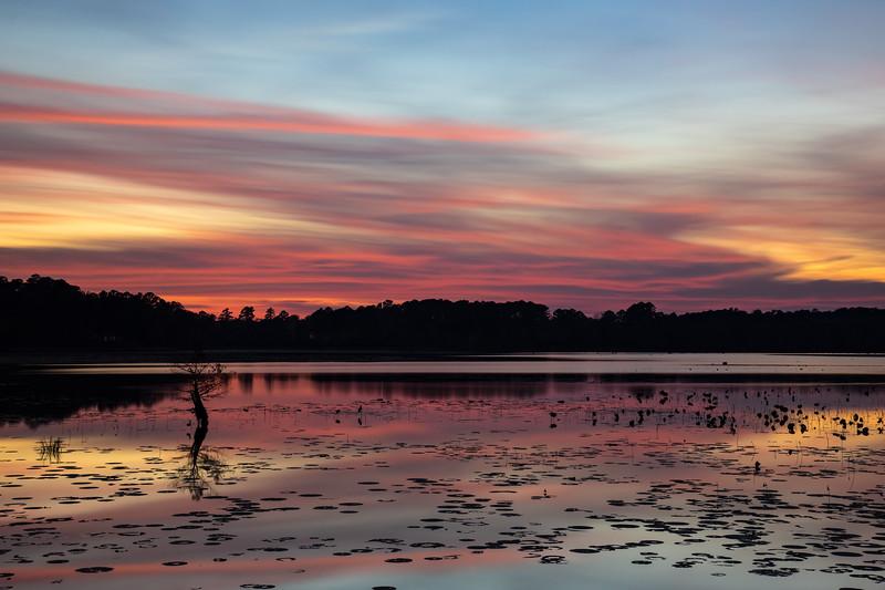 Stunning sunset over Bluff Lake in the Sam D. Hamilton Noxubee National Wildlife Refuge, MS