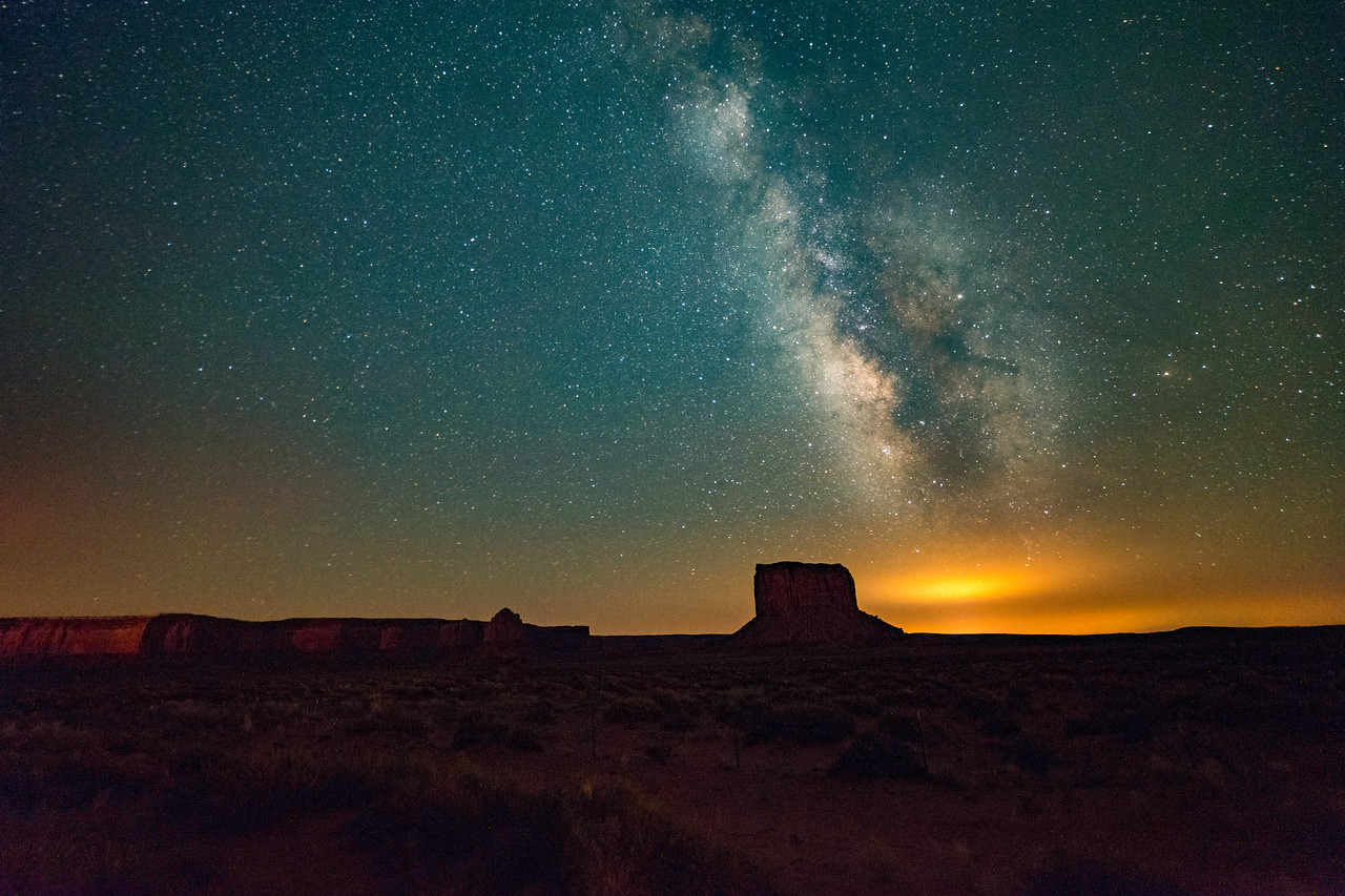 The Milky way over Mitchell Butte, Monument Valley, AZ
