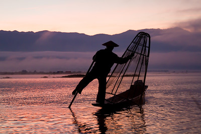 Leg Rowing Fisherman at Dawn, Myanmar