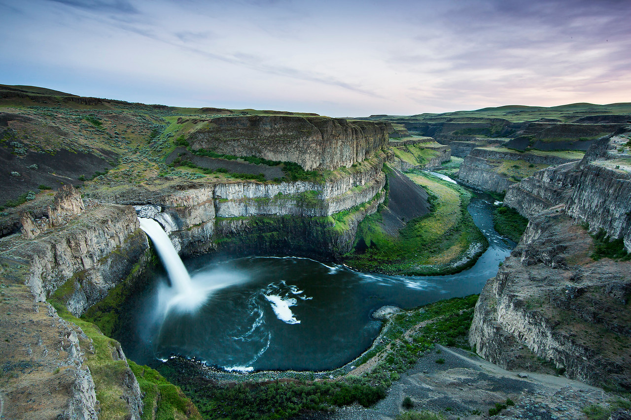 Scenic view of a waterfall.
