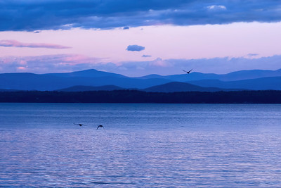 Mountain range along shimmering lake at dusk • Lake Champlain, NY • 2014