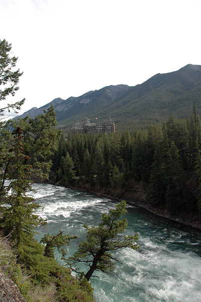 Banff Springs Hotel above Bow River