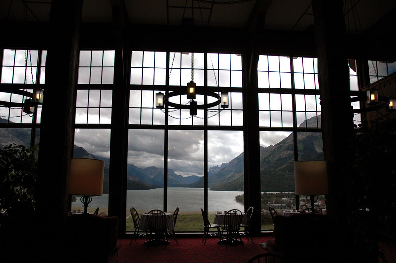 tea room in Prince of Wales Hotel,<br /> overlooking Waterton Lake