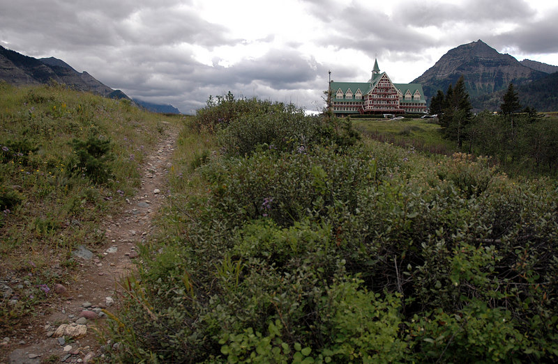 trail up to Prince of Wales Hotel from Waterton Lake