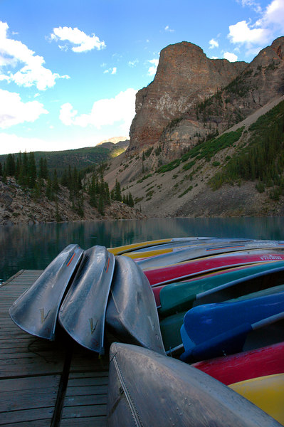 canoes & rockpile @ Moraine Lake<br /> Banff National Park