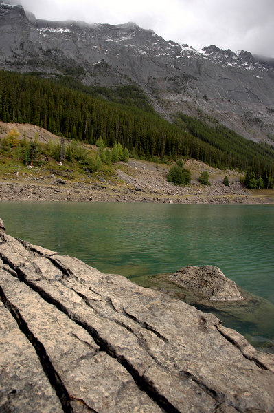 slab steps at Medicine Lake<br /> Jasper National Park