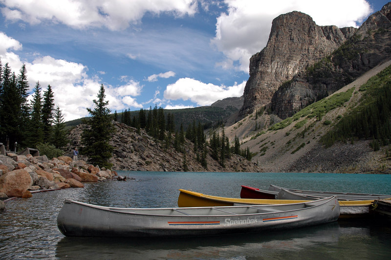 canoes, rockpile, Tower of Babel<br /> Moraine lake, Alberta