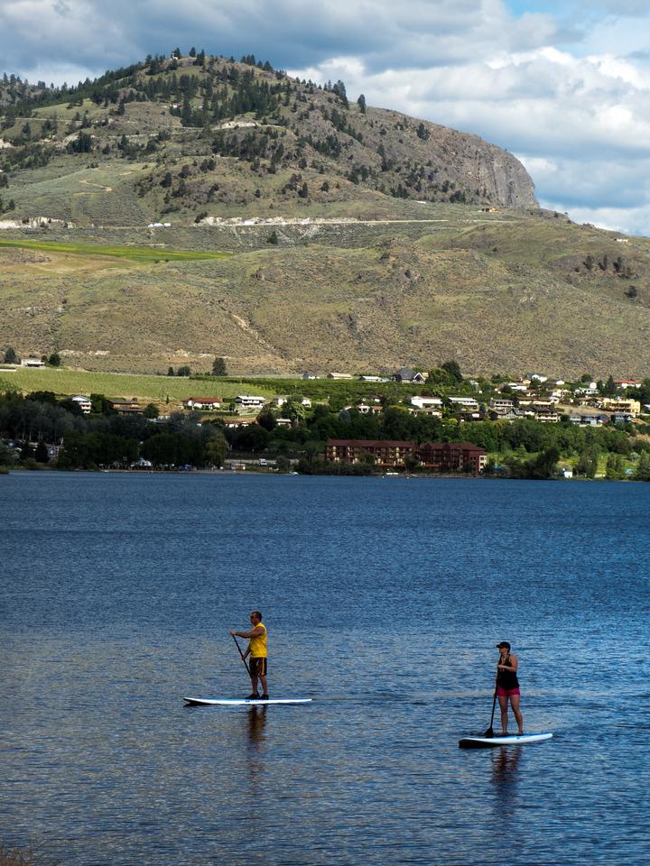 paddleboarders on Lake Osoyoos, BC