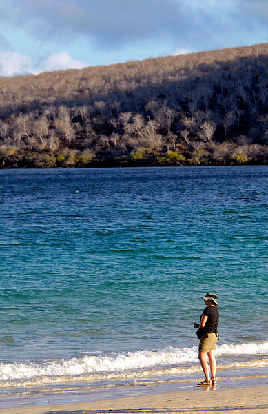 Amy looking out to sea from Punta Cormorant-Floreana Island-Galapagos 12-17-2007