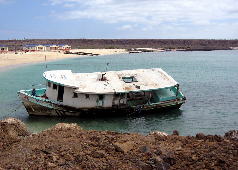 luxury houseboat tethered to Baltra shoreline-Galapago Islands 12-15-2007