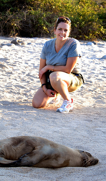 Amy & snoozing sea lion-N  Seymour Island-Galapagos 12-15-2007