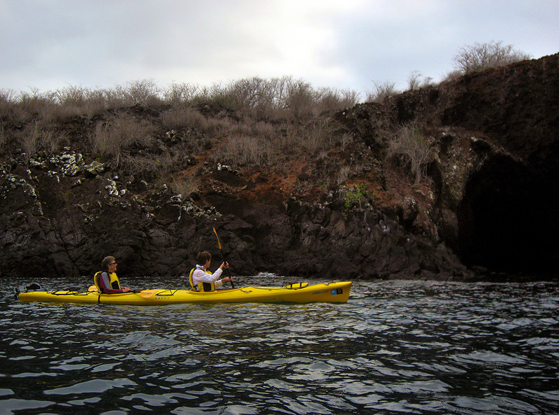 kayakers along shore of Espnola island-Galapagos 12-16-2007
