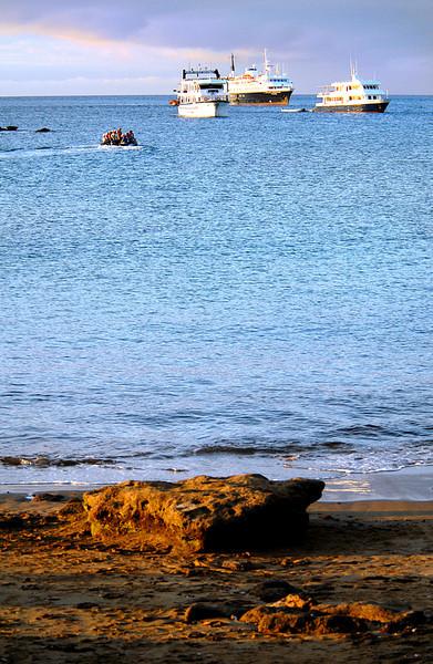 ships @ sunset off Punta Cormorant-Floreana Island 12-17-2007