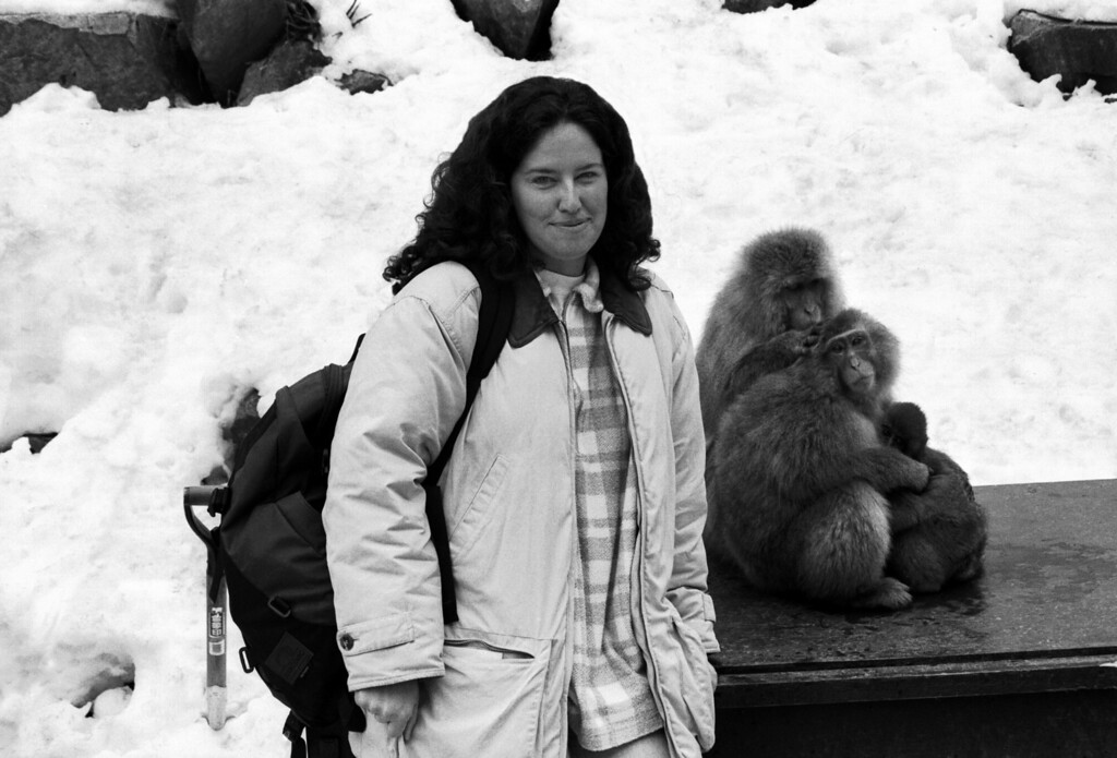 Kelly & macaques - Jigokudani Yaen Koen, Japan 1998 Feb