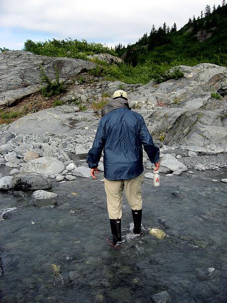 Rob crossing stream @ Lawrence Glacier-Passage Canal-Alaska 8-30-2007