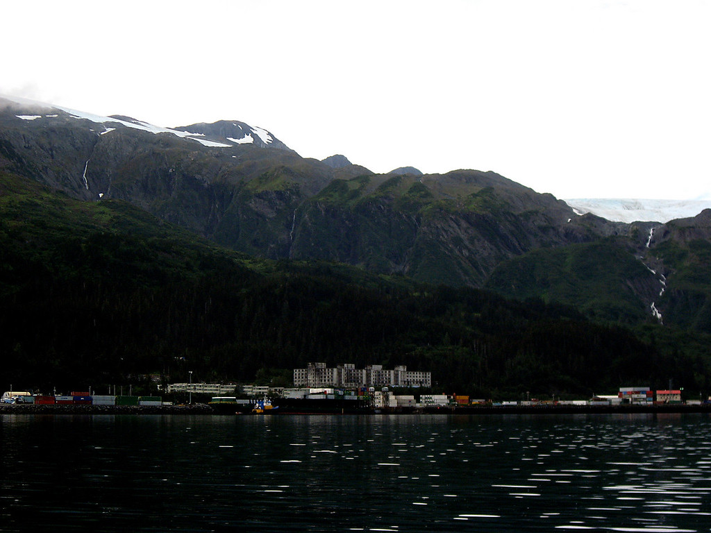 Buckner Building & Whittier port from Passage Canal-Prince William Sound, Alaska 8-30-2007