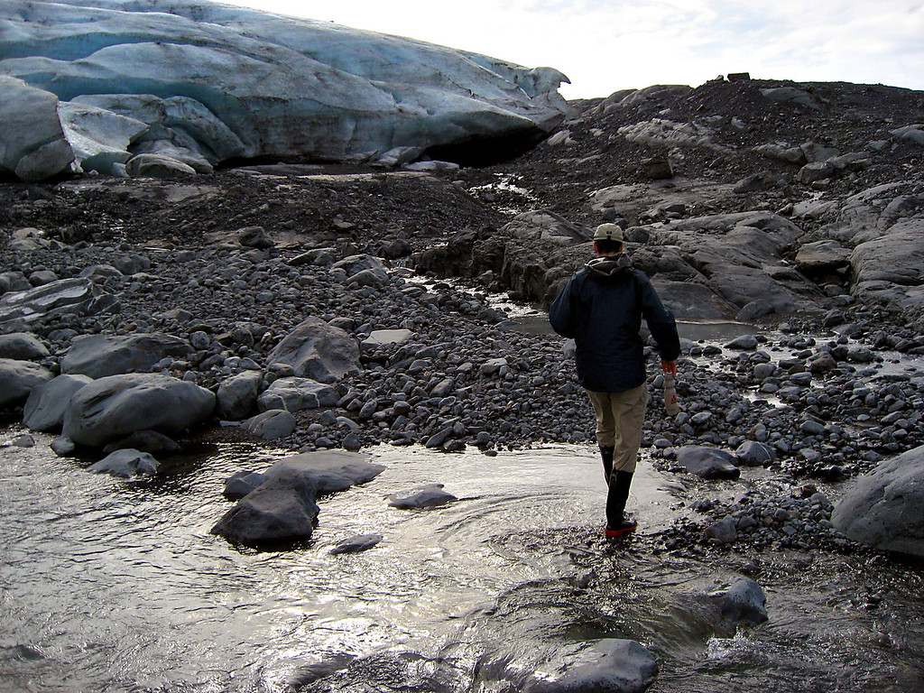 Rob walking on water-Lawrence Glacier, AK 8-30-2007
