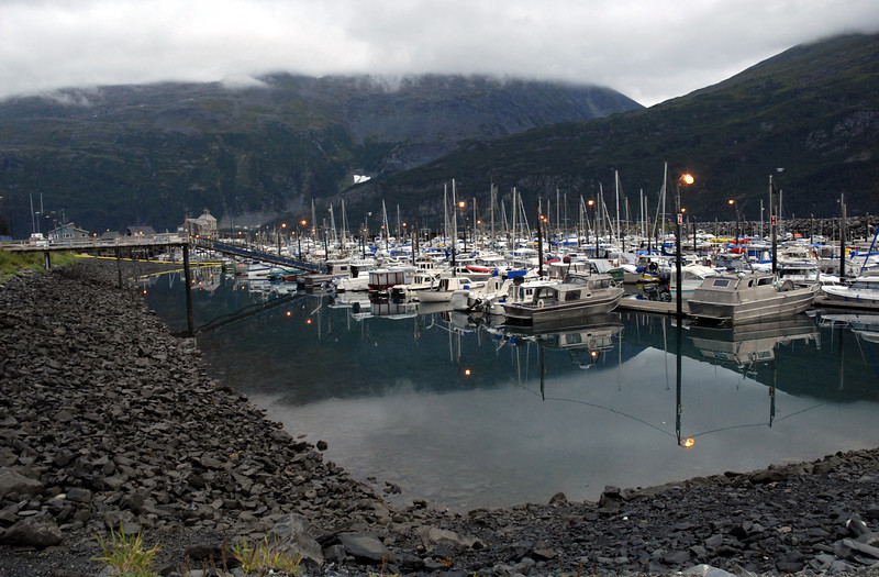 morning mist over boat harbor-Whittier, AK 8-30-2007