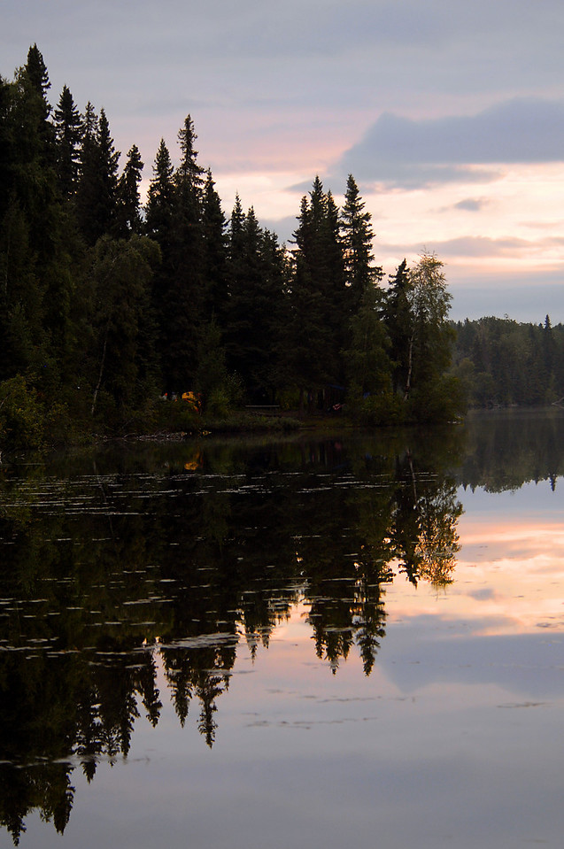 sunrise reflections 0n Dolly Varden Lake-north of Sterling, AK 9-2007