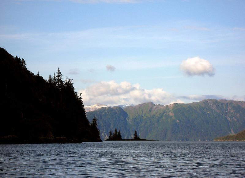 treed slopes surrounding Blackstone Bay, Alaska 8-2007