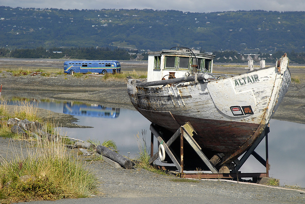 boat on dry land, bus on the water-Homer Spit, Alaska 9-1-2007