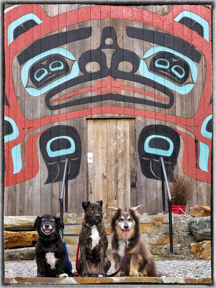 Elliot, Ollie & Karly in front of Beaver Clan House-Saxman Village near Ketchikan, AK 9-27-2012_Snapseed