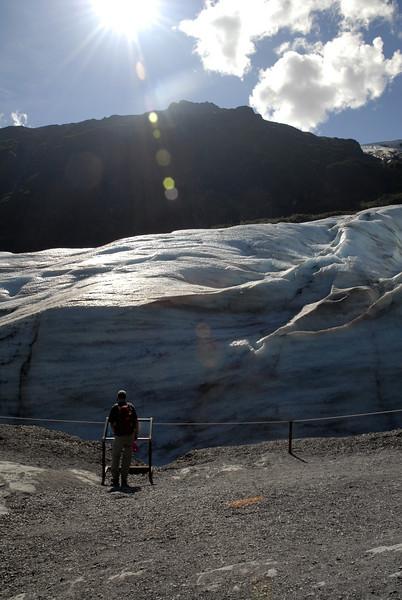 Rob standing before Exit Glacier-Kenai Fjords NP, AK 8-31-2007