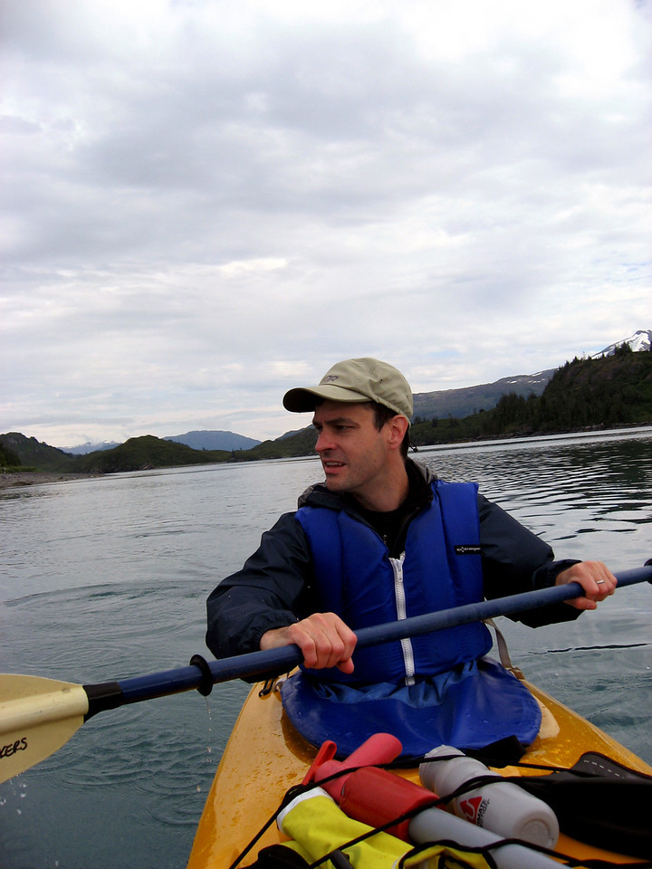 Rob paddling on Blackstone Bay, Prince William Sound, AK 8-30-2007
