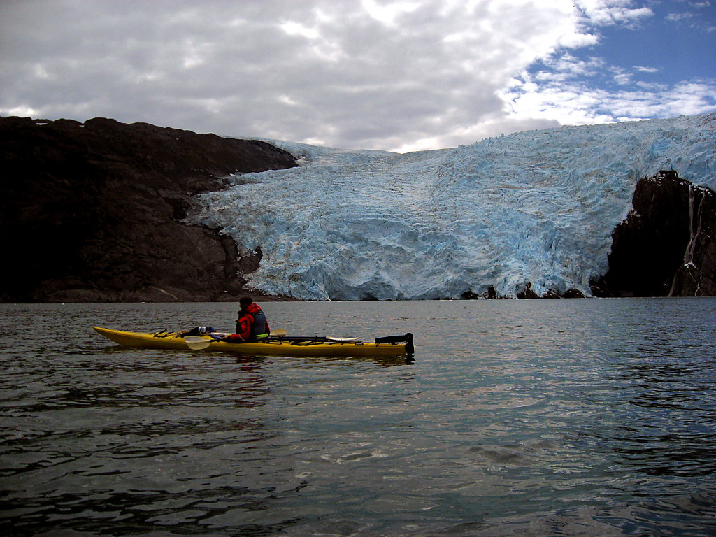 Megan in front of Blackstone Glacier, Passage Canal, AK 8-30-2007