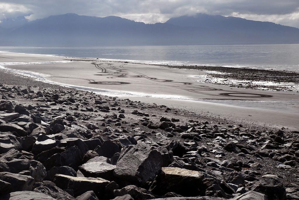sand circles-low tide on Homer Spit, AK 9-1-2007
