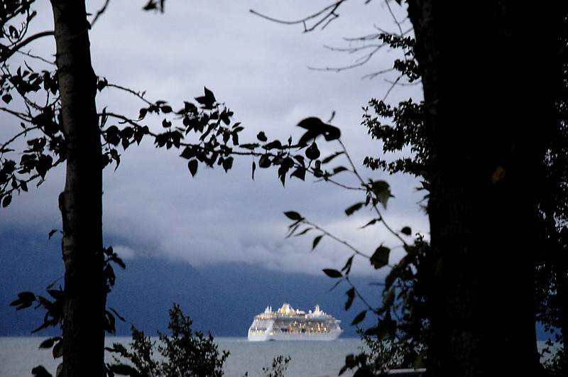 cruise ship through the trees-Seward, Alaska 8-31-2007