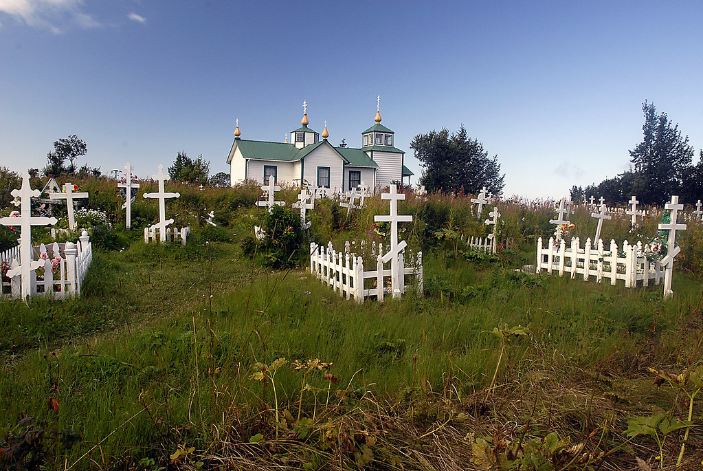 graves in front of the Transfiguration of Our Lord Russian Orthodox Church-Ninilchik, Alaska 9-1-2007