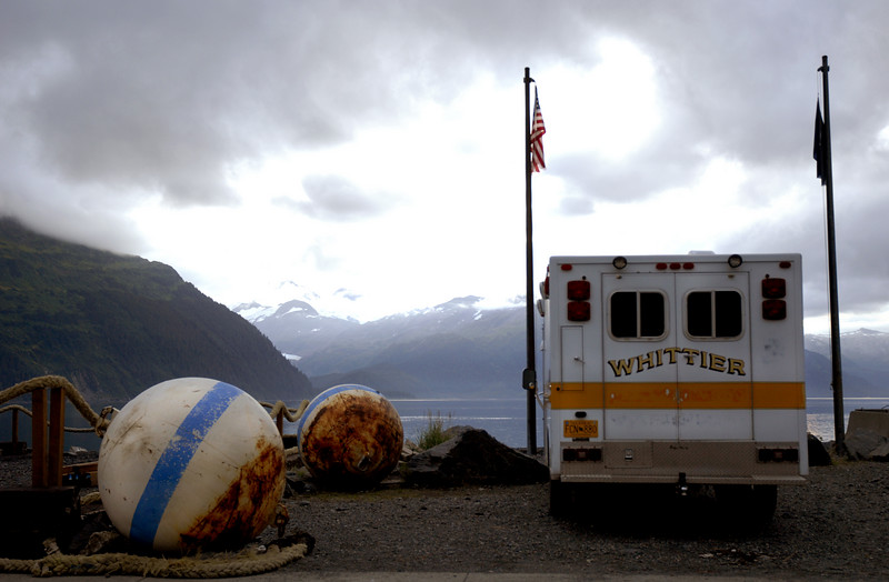Whittier ambulance on edge of Prince William Sound-Whittier, AK 8-30-2007