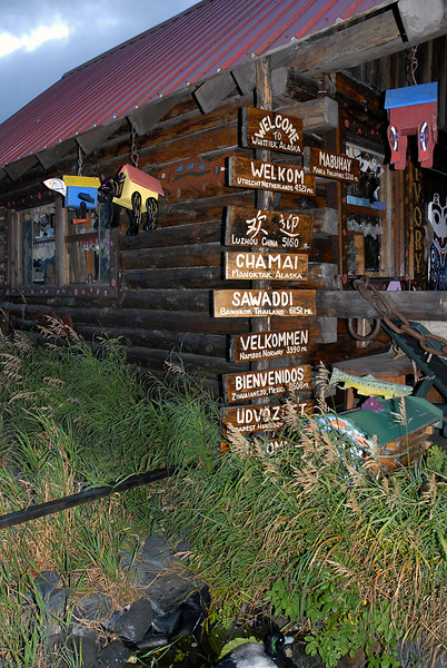 welcome signs @ Whittier, AK shop 8-30-2007