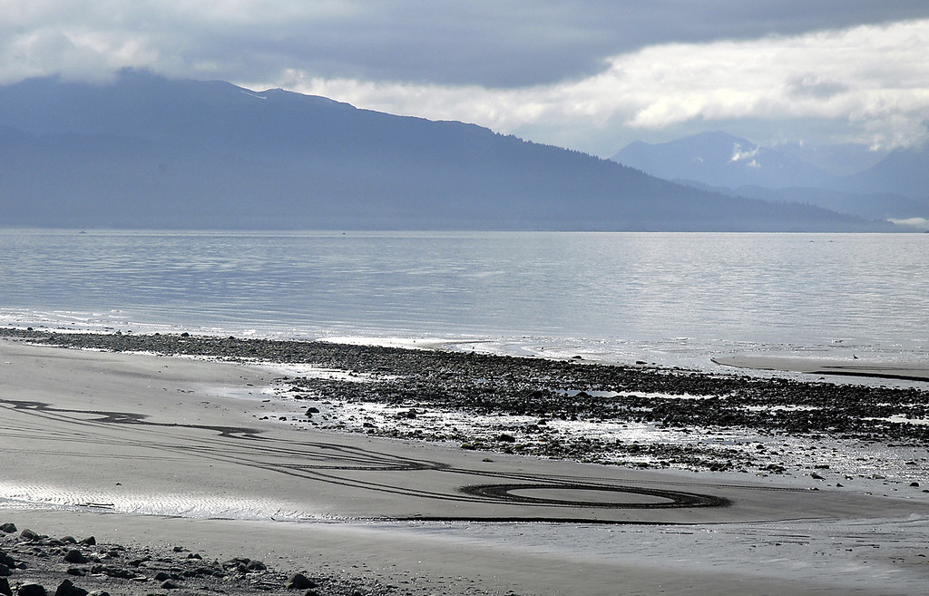 circle in the sand-low tide on Homer Spit, AK 9-1-2007