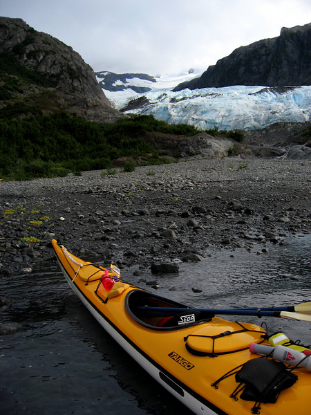 kayak ready to roll from Lawrence Glacier, Passage Canal, AK 8-30-2007