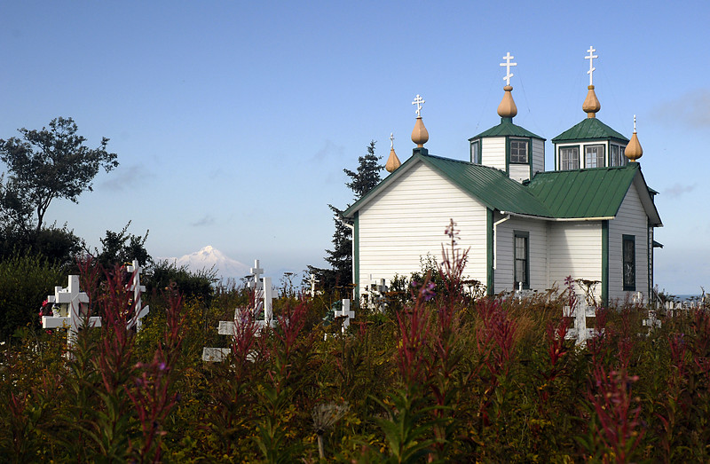 Mt Iliamna, fireweed, & the Transfiguration of Our Lord Russian Orthodox Church-Ninilchik, Alaska 9-1-2007