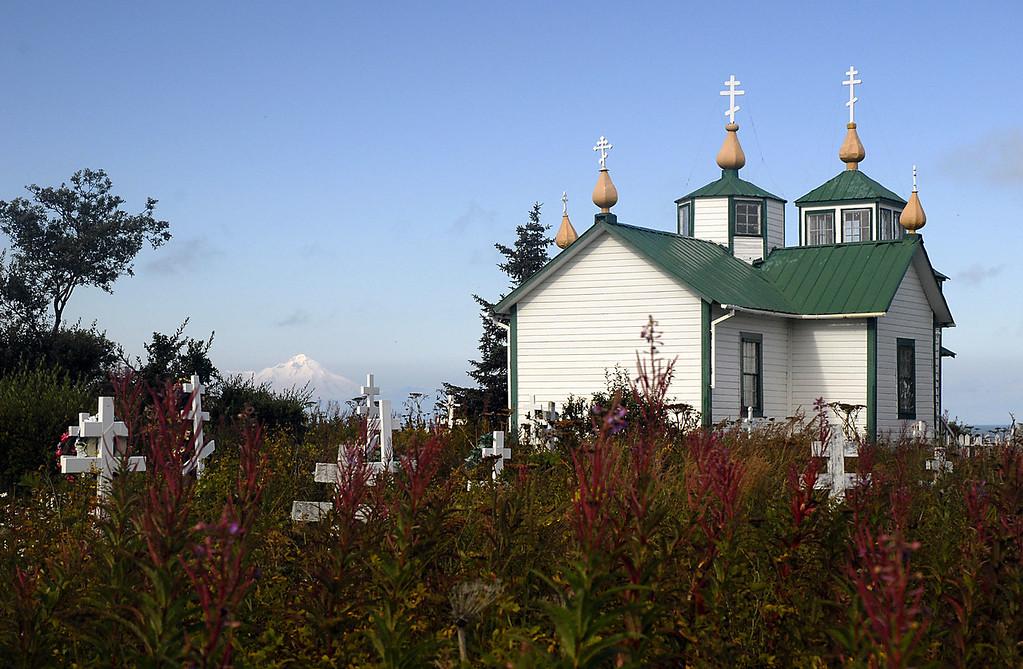 Mt Iliamna, fireweed, & the Transfiguration of Our Lord Russian Orthodox Church-Ninilchik, Alaska 9-1-2007
