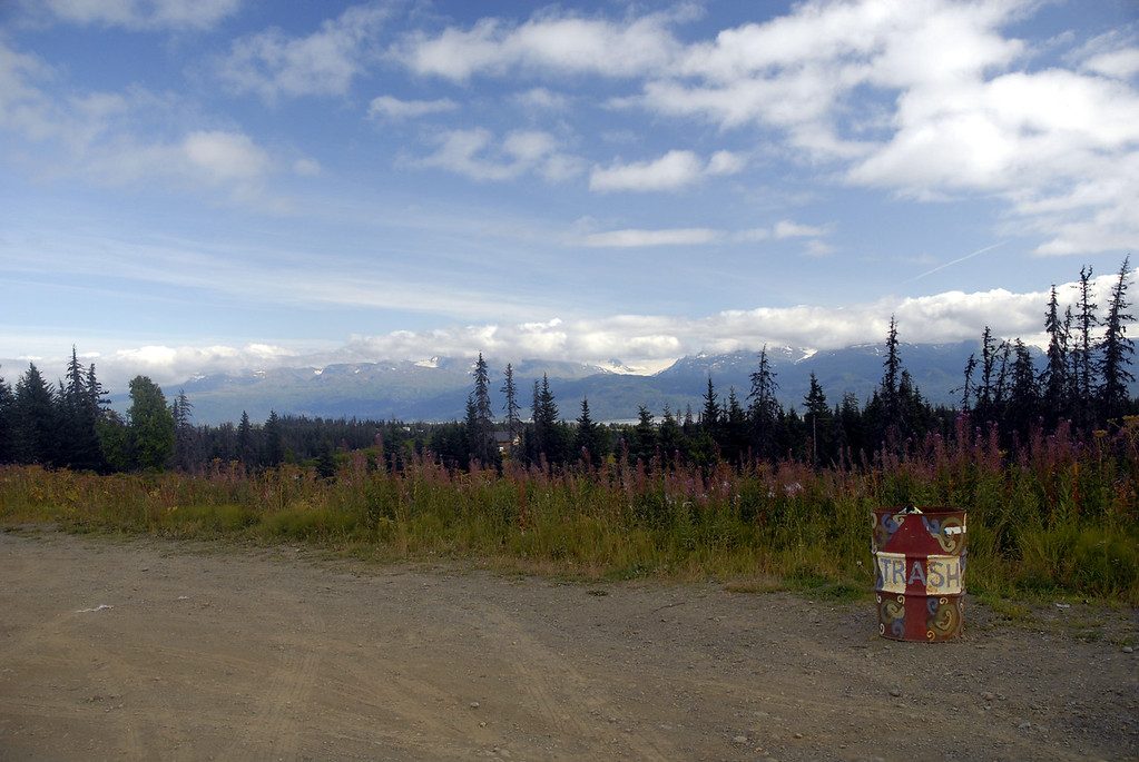 trash to treasure-fireweed framed view of mtns across kachemak Bay-Homer, Alaska 9-1-2007