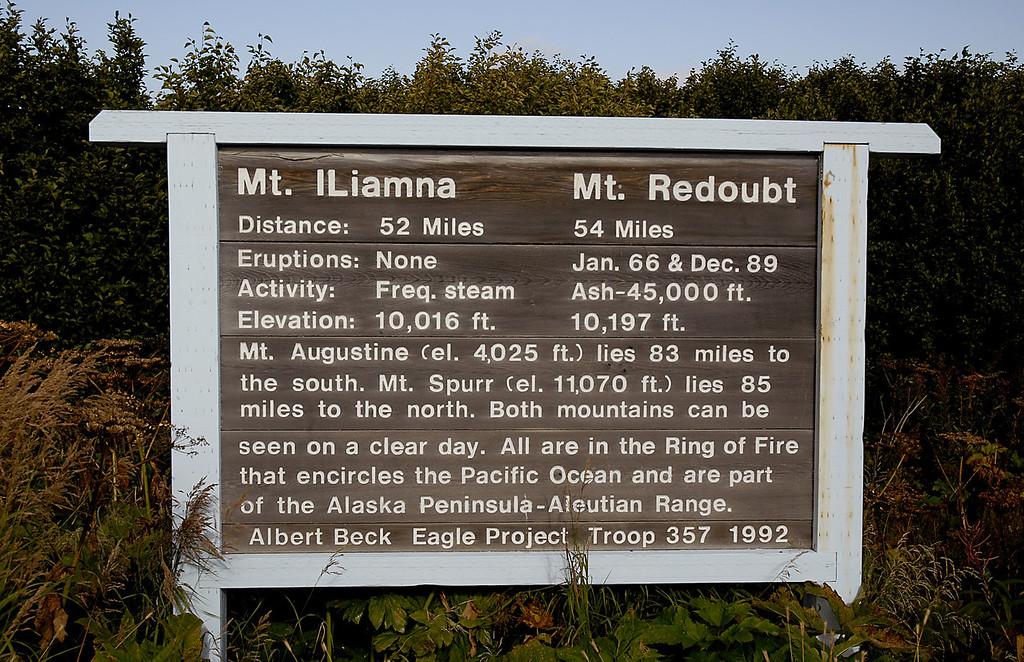 Mt Iliamna & Mt Redoubt sign, Seward Hwy, Kenai Peninsula, AK 9-1-2007