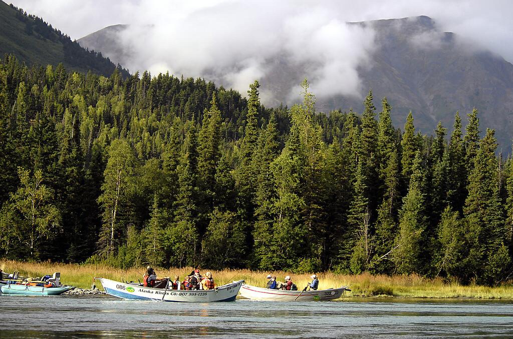 fishing canoes, Kenai River-Cooper Landing, AK 9-2-2007