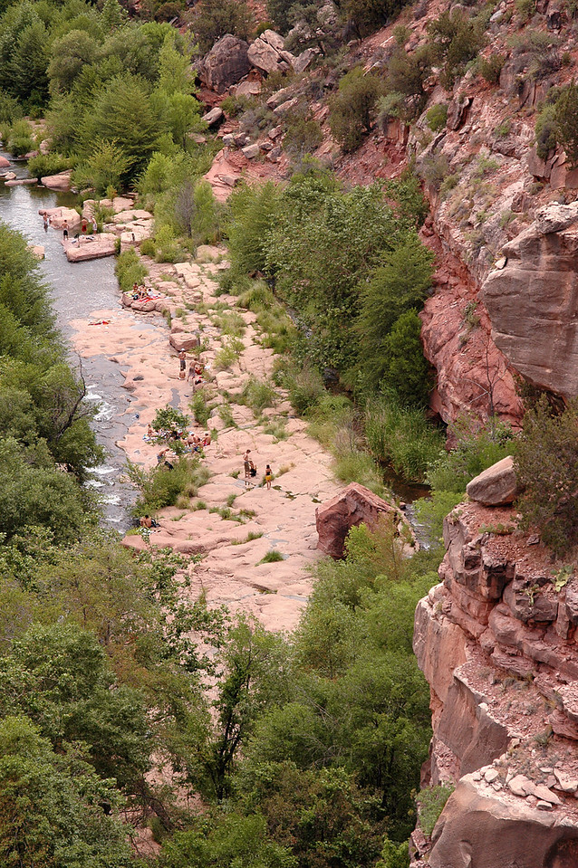 Oak Creek beach, aerial view-Sedona, AZ 7-9-04